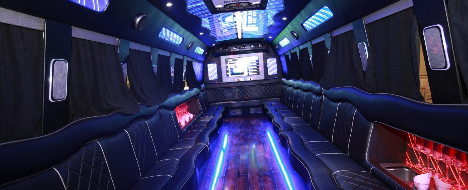 interior view of a nashville party bus