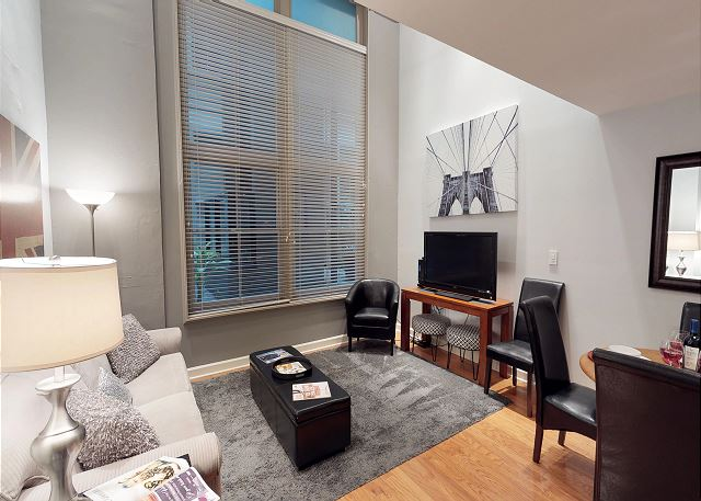 Living room inside the Melody Loft rental