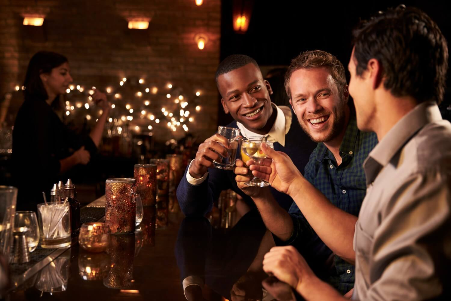 People drinking at a bar